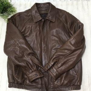 Brown Lambskin Leather Bomber Jacket